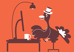 Thanksgiving Holiday Turkey with Top Hat, using computer on cloud