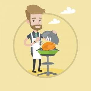 Hipster man cooking chicken on barbecue grill outdoors. Young man having a barbecue party. Man preparing chicken on barbecue grill. Vector flat design illustration in the circle isolated on background